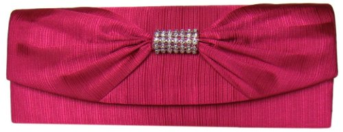 DIVA-MODE - Cartera de mano de raso para mujer rosa rosa