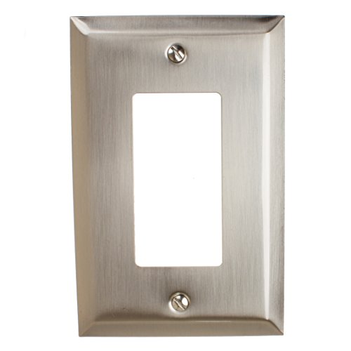 GlideRite Hardware Wall Plate Cover for Single Decora Rocker Light Switch - GFCI Steel 1-Gang Classic Square Beveled Receptacle for Kitchen or Bathrooms (Single Rocker, Brushed Nickel finish)