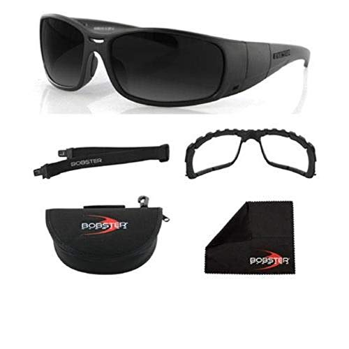 Bobster Ambush 2 Convertible Sunglasses,Black Frame/Smoke & Clear Lens,One Size (Womens Bobster Motorcycle Sunglasses)