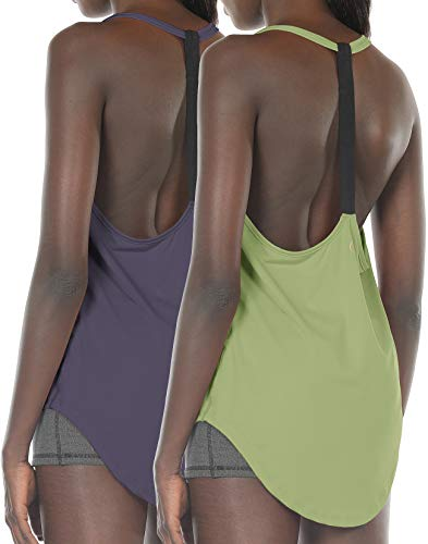 icyzone Workout Tank Tops for Women - Athletic Yoga Tops, T-Back Running Tank Top(Pack of 2) (XL, Purple/Pistachio Green)