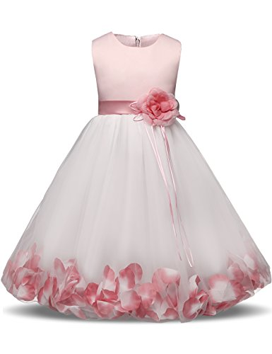 NNJXD Girl Tutu Flower Petals Bow Bridal Dress for Toddler Girl Size 5-6 Years Big Pink