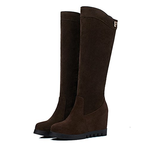 Round High Toe High Shoes Suede Top Heels Zipper Brown AgeeMi Boots Women's Closed wWAXqggBc