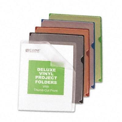 C-Line Deluxe Project Jacket Folders, Letter, Vinyl, Black/Blue/Clear/Green/Red, 35/Box