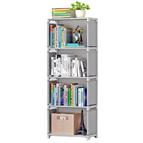 elf Open Shelf Bookcase DIY Plastic Office Storage Cabinet Gray 4 Cube ()