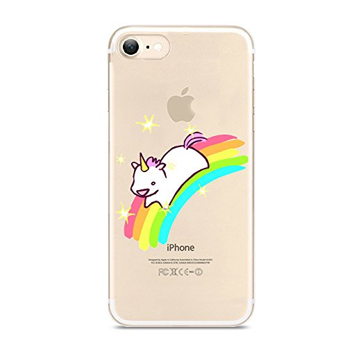 iPhone 7 Case,Novelty Animal Pattern on Soft TPU Silicone Protective Skin Ultra Slim & Clear with Unique Art Design Gift Bumper Back Cover for iPhone 7 4.7 inch,unicorn running on - Cute Rainbow