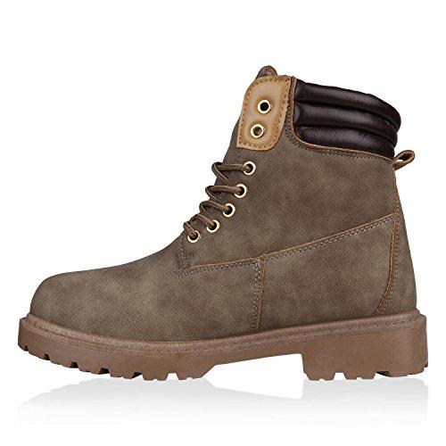 Stiefelparadies Damen Stiefeletten Worker Boots mit Blockabsatz Metallic Profilsohle Flandell Khaki Brooklyn