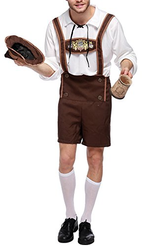 Bslingerie Mens Halloween Costume Beer Bavarian Guy Set (XL, Beer Bavarian Guy) -