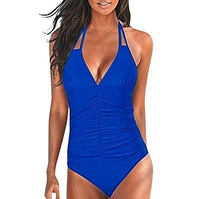 JustWin Women One Piece Push Up Printed Bikini Beach Bathing Monokini Swimwear Ladies One-Piece Solid Color Swimsuit