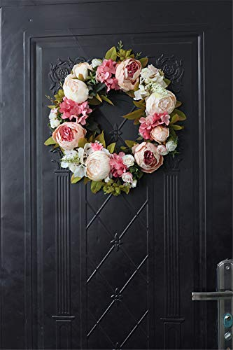 LYFWL-Christmas-Wreath-Raw-Silk-Peony-Simulation-Wreaths-Decorated-Door-Knocker-Decorative-Flowers-Artificial-Flowers-Silk-Flower-Festivals-Deep-Pink-Wedding-Wreath