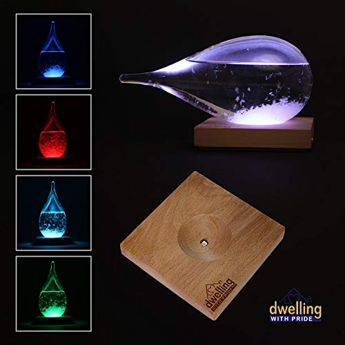 (Large Storm Glass Mini Weather Station with Light Up LED Base | Lighted Home Decor in Shape of Water Drop for Desktop, Desks, Shelf and Tables | Creative Temperature Gauge Gifts | Multi-Color Options)