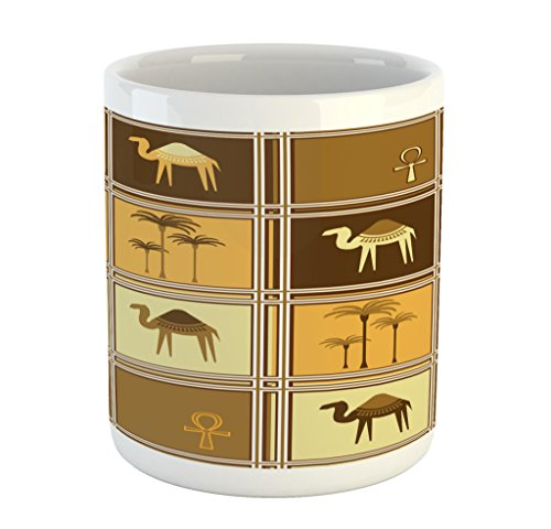 Lunarable Ankh Mug, African Safari Palm Trees with Camels Arabian Ethnic Middle Eastern Art, Printed Ceramic Coffee Mug Water Tea Drinks Cup, Apricot Brown Pale Coffee by Lunarable