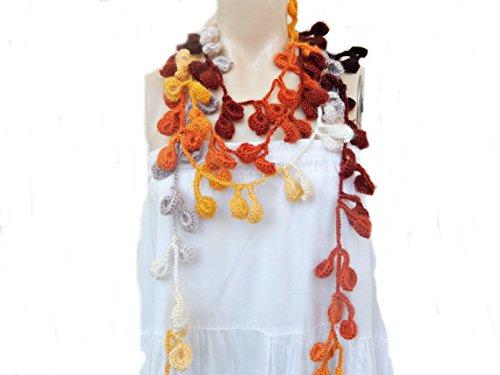 Autumn Leaves Scarf-Multicolor Lariat Scarf-Handmade Scarf -Crochet Scarf-Autumn Scarf-Vegan Scarf