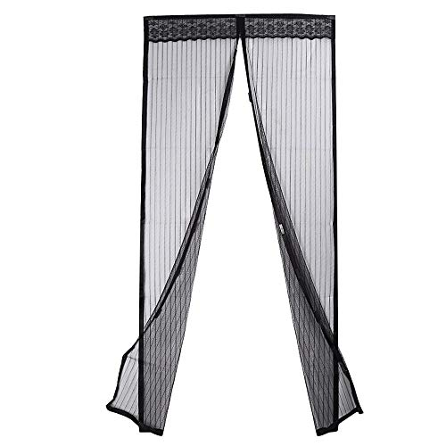 Pucidder Magic Curtain, Magnetic Screen Door with Heavy Duty Mesh Curtain and Full Frame, Easy Installation, No Gap, Fits Door Size up to 90 x 210 cm
