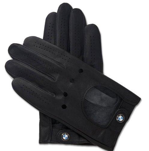 BMW Logo Black Leather Driving Gloves, Large