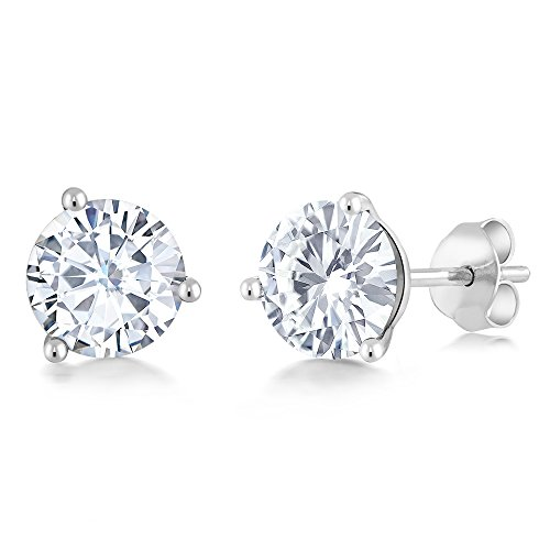 Charles & Colvard 6mm 1.60ct DEW White Created Moissanite 14K White Gold Friction Back Round Martini Stud Earrings Created Moissanite Earring Studs