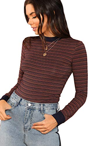 SheIn Women's Casual Mock Neck Striped Tee Tops Long Sleeve Slim Fit T-Shirts Small Multicolor (Girls Ringer T-shirt)