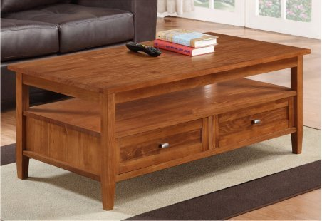Large Pine Living Room Coffee Table With Functional Storages