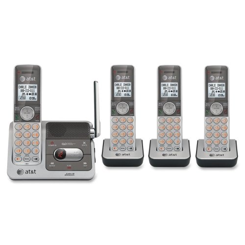 Brand New At&T Corp - At&T Cl82401 Dect Cordless Phone - Silver, Black - Cordless - 1 X Phone Line - 4 X Handset - Speakerphone - Answering Machine - Caller Id - Backlight