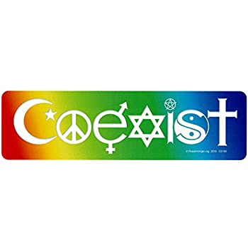 Coexist in a rainbow magnetic bumper sticker decal magnet 10 5