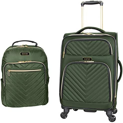 Kenneth Cole Reaction Women's Chelsea 2-Piece 20″ Expandable 4-Wheel Carry-On Suitcase & Matching 15″ Laptop Backpack, Olive