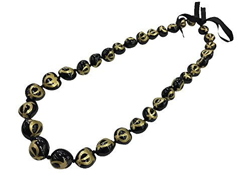 DK Hawaiian Collections Turtle Hand Painted Kukui Nut Lei 33 Nuts Necklace (BK/GOLD) (Gold Kukui Lei Necklace)