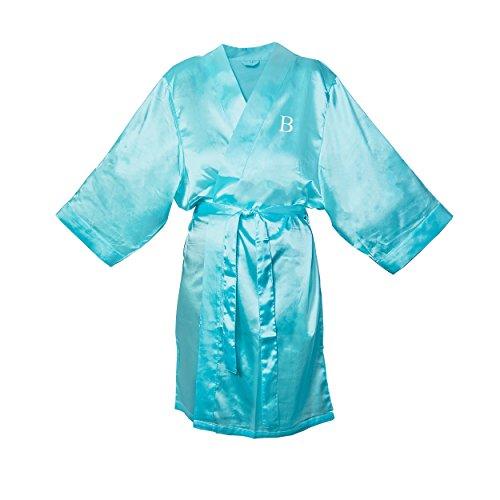 Cathy's Concepts Personalized Aqua Satin Robe, L/XL, Lett...