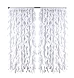 spring Home Waterfall Shabby Chic Ruffled Fabric Window Curtain (White) For Sale