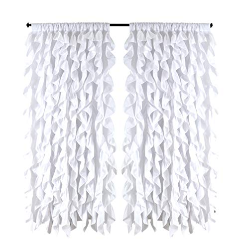 spring Home Waterfall Shabby Chic Ruffled Fabric Window Curtain (White)