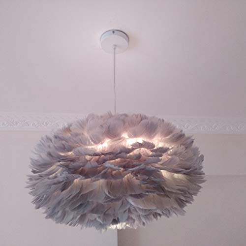 Gray Feather Pendant Light Modern Romantic Oval Apricot Ceiling Light Living Room Dining Hall Lighting Fixture Best Gift for Children, Friend, Lover