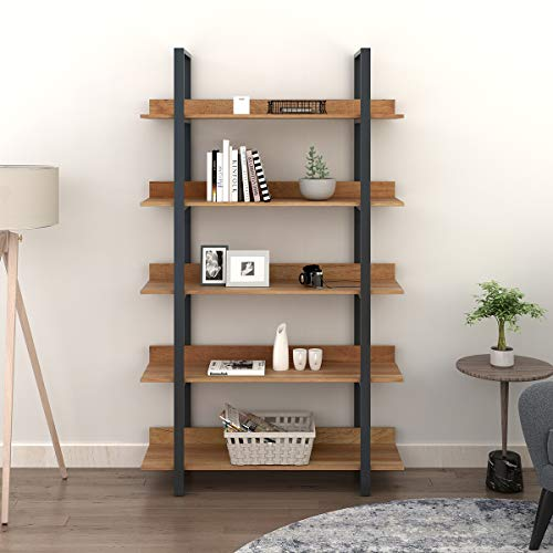 WLIVE 5 Tier Bookcase – Industrial Book Shelf, Wood and Metal Bookshelf Furniture, Walnut
