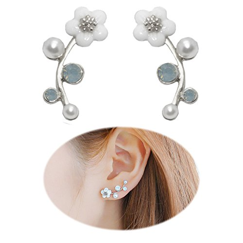 Ear Crawler Earrings Climbers Pearl Flower Ear Cuff Pin Vine Wrap Stud Crystal Rhinestone Clip On Jewelry Silver Plated