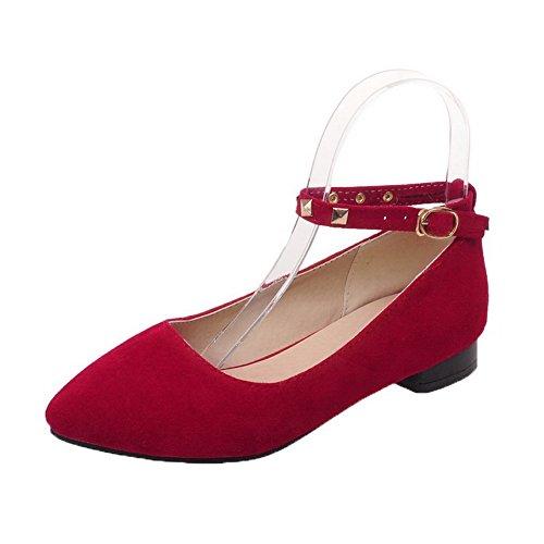 Allhqfashion Dames Laag Hakken Frosted Dichte Gesp Gesloten Teen Pumps-schoenen Rood