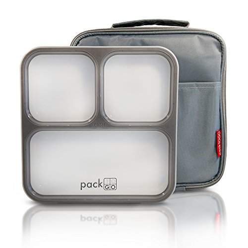 PackTOGO Leakproof Bento Lunch Box Container Set w/Insulated Lunch Bag for Adults (Gray) by PackTOGO