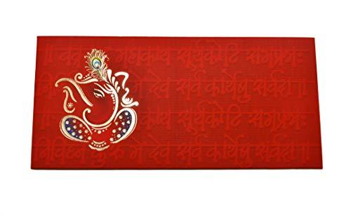 Desi Favors Set of 10 Money/Cash Envelopes (Red Ganesha) for Weddings/Diwali/Hindu Celebrations (Best Indian Wedding Cards)