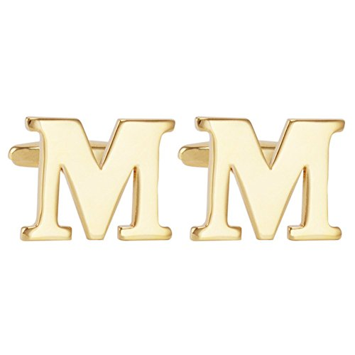 Salutto Men's Gold Letter M Cufflinks 1 Pair with Gift Box (M)