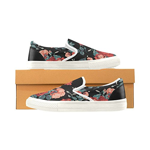D-story Custom Sneaker Seamless Floral Pattern Mujeres Inusuales Slip-on Canvas Zapatos