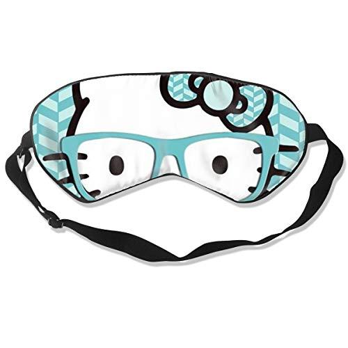 Hellokitty with Glasses Natural Silk Sleep Mask, Best Sleeping Mask Eye Mask Eye Cover for Travel, Nap, Meditation, Blindfold with Adjustable Strap for Men, Women