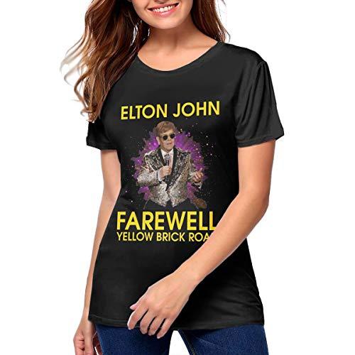 Womans Retro Elton Farewell John Tee Black