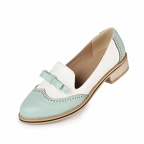 Show Shine Mode Féminine Douce Couleurs Assorties Arcs Mocassins Flats Chaussures Bleu Clair