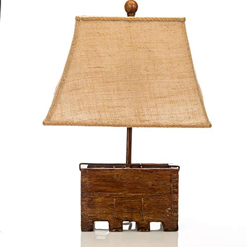 Wood & Metal Table Lamps Basket Of Farm Fresh Eggs Country Style Table Lamp 14 X 19.75 X 8 Inches Brown ()