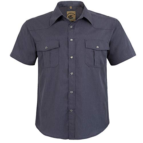 - Coevals Club Men's Button Down Solid Short Sleeve Work Casual Shirt (Gray #1, 2XL)