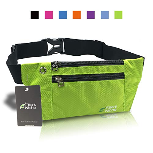 (Running Fanny Pack, 3 Pocket Travel Money Waist Bag, Water Resistant Elastic Adjustable Belt for Men Women, Fits iPhone X 8 Plus, Samsung, Ideal for Cycling Hiking Jogging Travelling Outdoor Sports)