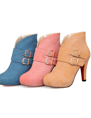 Stiletto Zapatos us5 Cn35 5 Redonda Tacón Mujer 5 Uk3 Azul Botas Yellow Punta Pink 5 Casual Cn40 us8 Semicuero Eu36 Amarillo Vestido Rosa Uk6 Botines 5 Xzz De Eu39 fIdgApIq