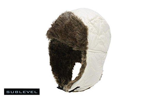 Mütze Fellmütze Fliegermütze Hunter Hat Steppung weiss