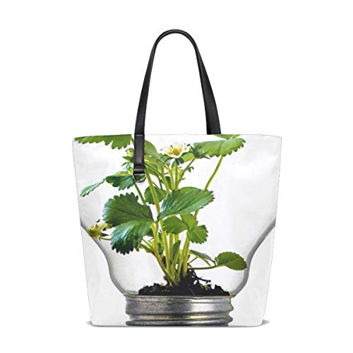 WJJSXKA Women Bulb Light Bulb Growth Plant Light Green Leaf Handle Satchel Handbags Shoulder Bag Tote Purse Messenger Bags