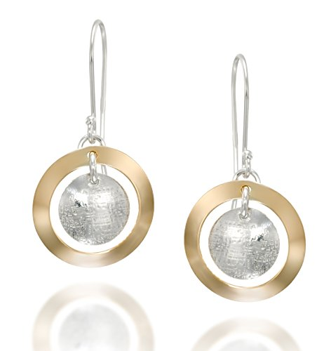 - Two Tone Multi Circle Dangle Earrings with French Wire Hooks in 925 Sterling Silver and 14k Gold-Filled