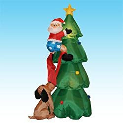 6 Foot Inflatable Santa Claus Climbing on Christmas Tree...