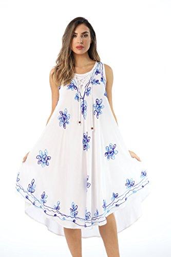Riviera Sun 21808-BLU-1X Dress Dresses for Women White/Blue