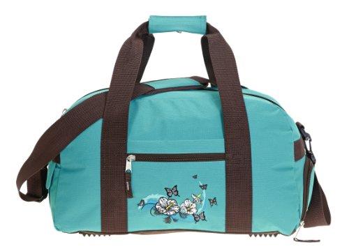 ELEPHANT Sporttasche Schulsporttasche 47 cm mit Schuhfach Schulsport Tasche Flower BUTTERFLY TÜRKIS
