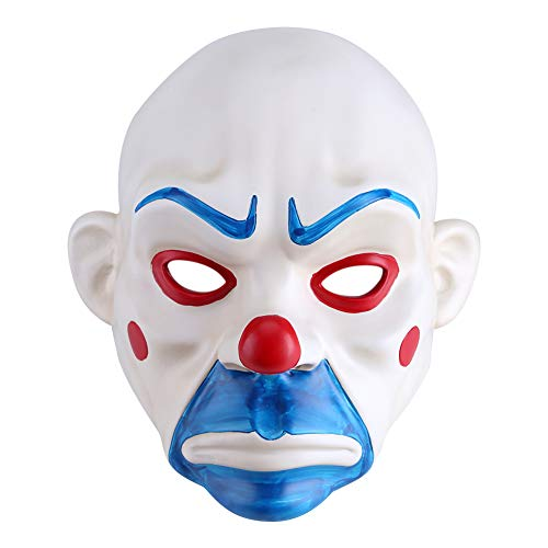 Zerodis Joker Bank Robber Mask The Dark Knight The Joker Adult Mask Resin Clown Cosplay Mask Halloween Costume Party Props Masks ()